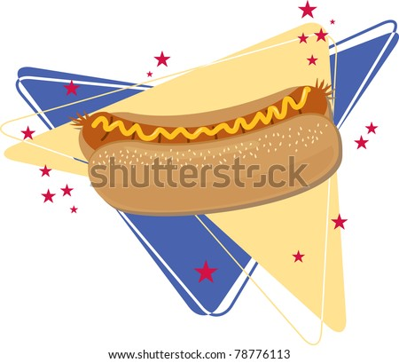 All-American Dog. Vector illustration of a grilled hotdog against a retro design in patriotic colors.