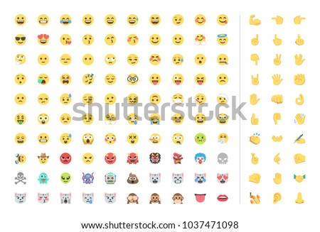 All Basic Face Hand Emojis Emoticons Stock Vector 1037471098