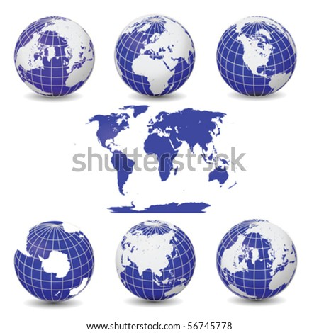 All Blue Earth Globes Collection Vector with World Map Isolated On White