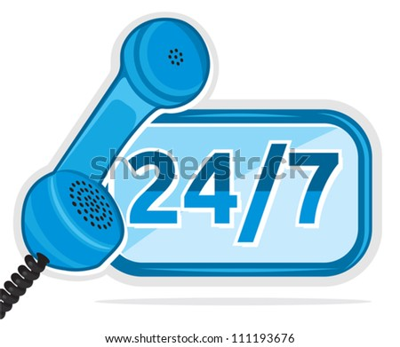 all day customer support call center - stock vector