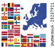 all european flags and map of europe vector illustration - stock vector