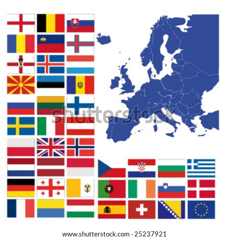 all european flags and map of europe vector illustration