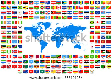 All Flags and World Map - Vector Collection