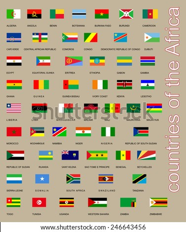 All flags of Africa countries, Original  flags isolated vector in official colors and Proportion Correctly.  Vector set of Flags of sovereign states and other territories of Africa.  - stock vector
