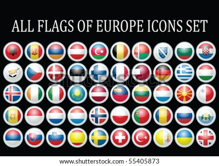 All flags of Europe complete collection vector set isolated on black - stock vector