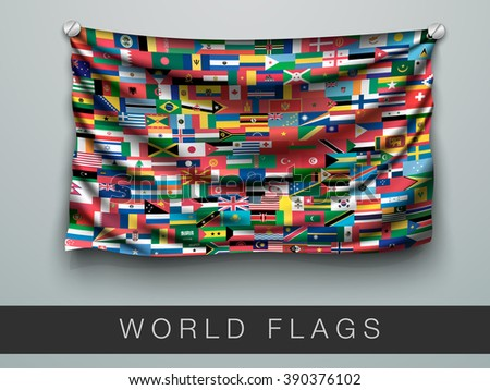 All flags of the world in one flag with shadow - stock vector