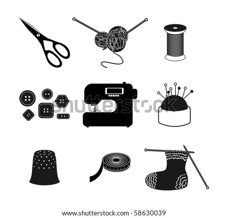 All for sewing. Vector icon set - stock vector