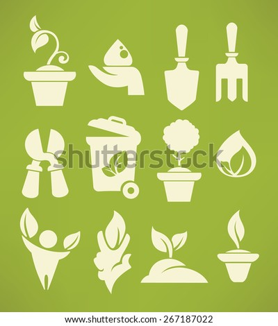 all for your gardening, icon and emblem set - stock vector
