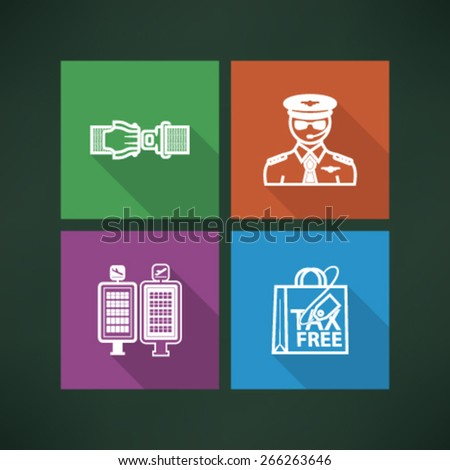 All icons in relation to summer vacation time - Seat belt, Pilot, Arrival/Departure displays, Shopping bag.  - stock vector