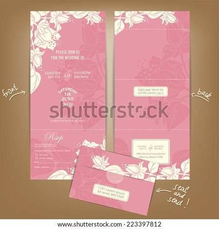 All in One Wedding Invitation with White Vintage Flowers. Seal and Send Card. - stock vector