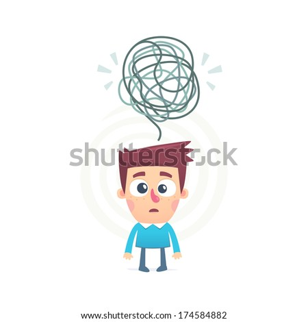 all mixed up in the mind of a person - stock vector