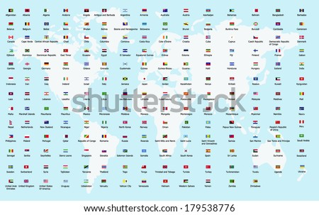 all nation flags of every countries in the world by Alphabetical Sequence - stock vector