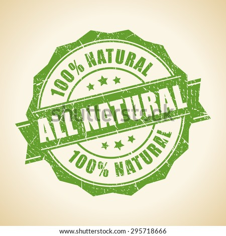 All natural green stamp - stock vector