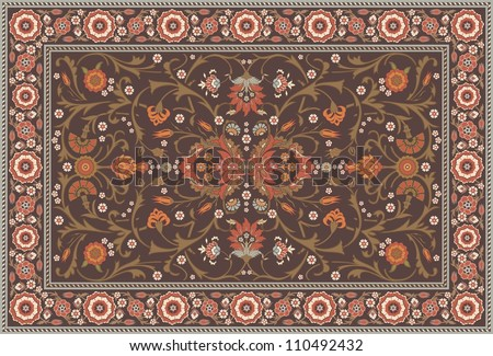 All-over Floral Rug Layout set in a soft earth color scheme - stock vector