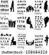 All people activity silhouettes. Vector illustration - stock