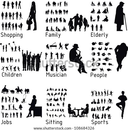 All people activity silhouettes. Vector illustration - stock vector