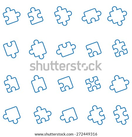 All Possible Shapes of Jigsaw Pieces - stock vector