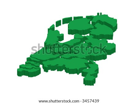 All provinces of the Netherlands separated. Laying almost flat. - stock vector