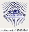 All seeing eye. Doodle style - stock photo