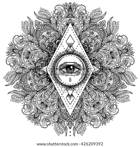 All seeing eye in ornate round mandala pattern. Mystic, alchemy, occult concept. Design for music cover, t-shirt , boho poster, flyer. Astrology, shamanism, religion. Coloring book pages for adults. - stock vector