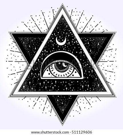 All-seeing eye is on the crossing of two traingles with starnight sky in each. New World Order.Freemason and spiritual, religion, spirituality, alchemy, occultism, tattoo art. Vector illustration.