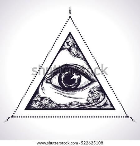 All Seeing Eye Pyramid Symbol New World OrderEye Of Providence Hand Drawn