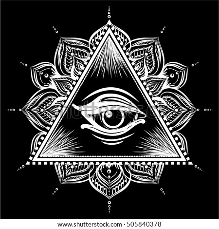all seeing eye pyramid symbol floral stock vector