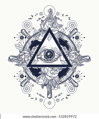 All Seeing Eye Pyramid Tattoo Art Stock Vector Royalty Free