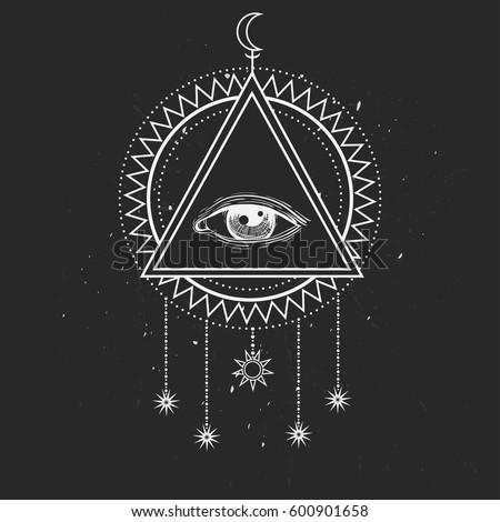 Allseeing Eye Symbol Sacred Geometry Third Stock Vector Royalty