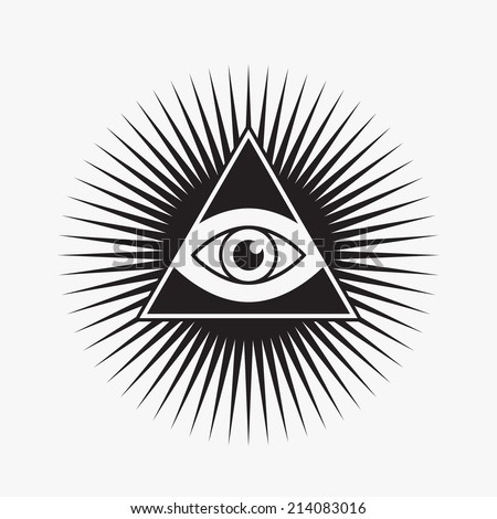All seeing eye symbol, star shape, vector illustration - stock vector