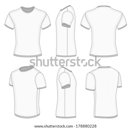 All six views mens white short stock vector 178880228 for Collar shirt design template