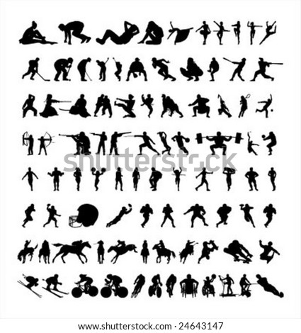 all sport silhouette - stock vector