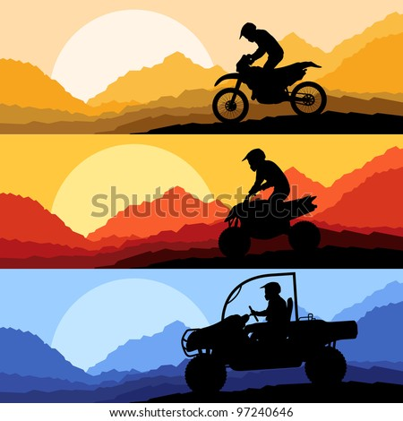 All terrain and sport motorbike riders motorcycle silhouettes reflection collection in wild mountain landscape background illustration vector - stock vector