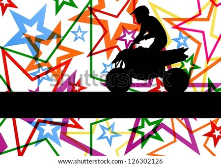 All terrain vehicle quad motorbike rider illustration colorful star line background vector - stock vector