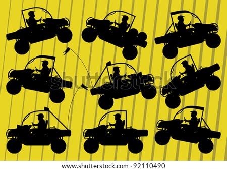 All terrain vehicle quad motorbikes and dune buggy riders illustration collection background vector - stock vector