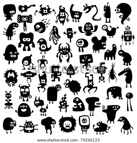 All the monsters are unique and not repeated with other collections - stock vector