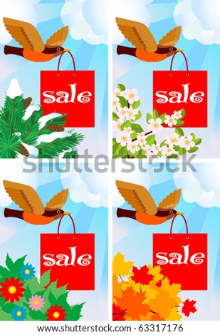 All the year round sale theme. Bird with shopping paper bag - stock vector