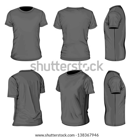 All views men's black short sleeve t-shirt design templates (front, back, half-turned and side views). Vector illustration. No mesh.  - stock vector