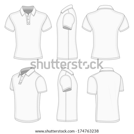 All Views Mens White Short Sleeve Stock Vector 174763238