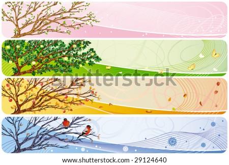 All-year seasonal banner in vector - stock vector