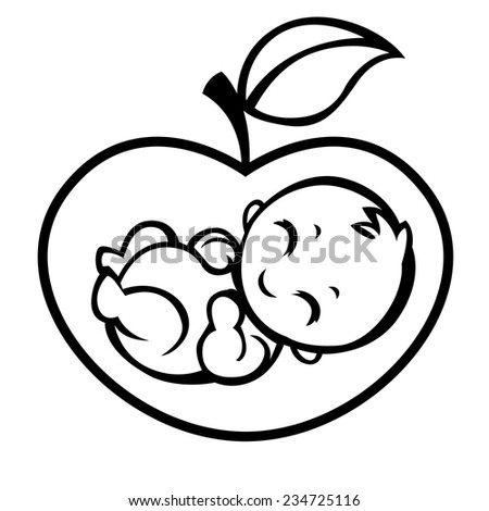 allegorical symbol of motherhood and pregnancy - baby inside apple - vector stylized illustration for logos, signs, icons and design cards, invitations and baby shower - stock vector