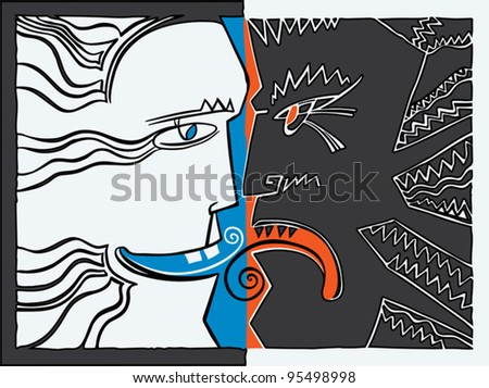 Allegory. Individuals like the wind and rock, good and evil, truth and lies furiously shouting to one another. - stock vector