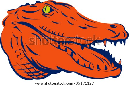 Alligator head mascot isolated on white background - stock vector