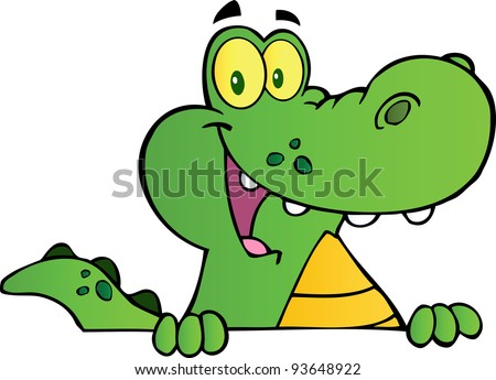 Alligator Or Crocodile Over A Sign - stock vector