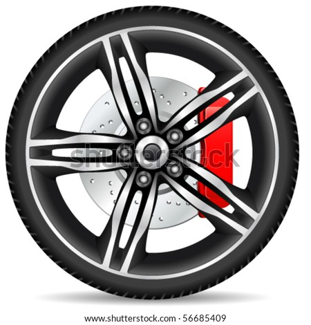 alloy  rim  and brake disc - vector illustration - stock vector