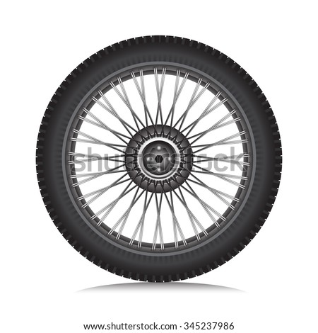 Alloy wheel with tire for car and motorcycle isolated on white, Vector - stock vector