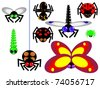 Alluring vector icons insects. Isolated on white. For children. Simple. Fly, spider, dragonfly, butterfly, ant, and others. - stock vector