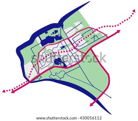 Almere Flevoland The Netherlands Vector Map Stock Vector 2018