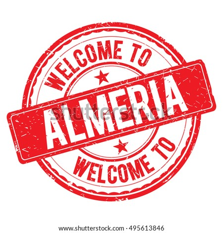 ALMERIA. Welcome to stamp sign illustration