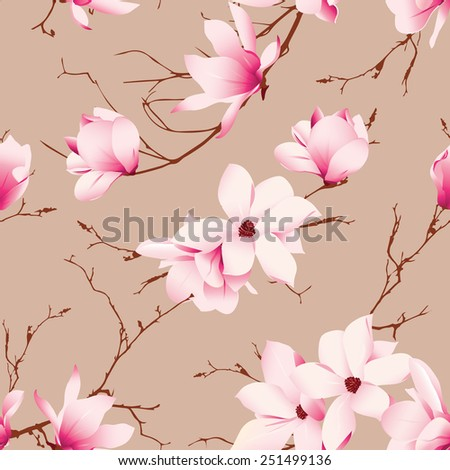 Almond magnolia flowers seamless vector pattern  - stock vector
